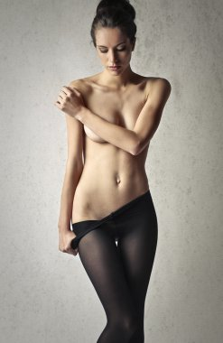 woman in black tights