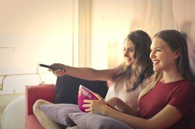 Girls watching tv