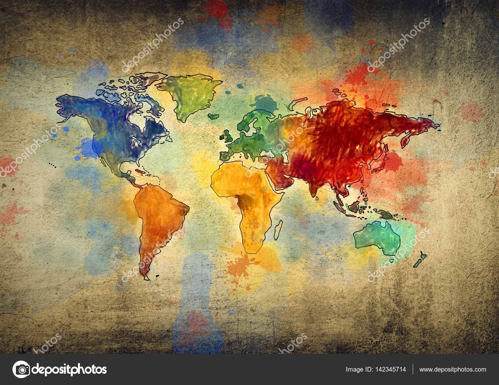 Colourful World Map Stock Photo Olly - Colorful world map painting