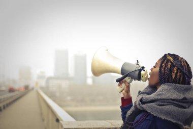 black woman with megaphone