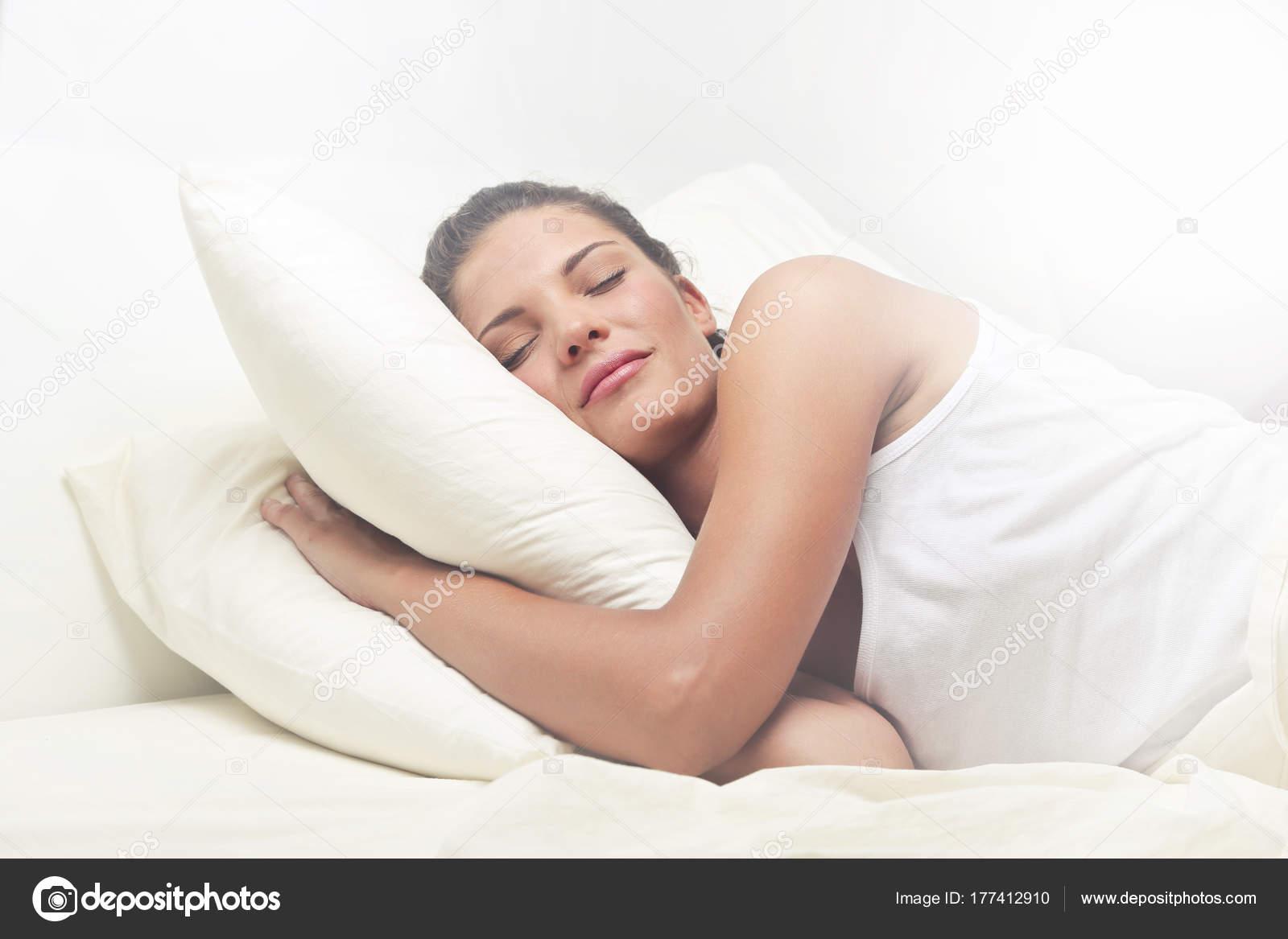 Dormire Con Due Cuscini.Girl Sleeping Bed Two Pillows Stock Photo C Olly18 177412910
