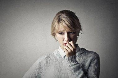 Portrait of an unhappy doubtful caucasian girl stock vector