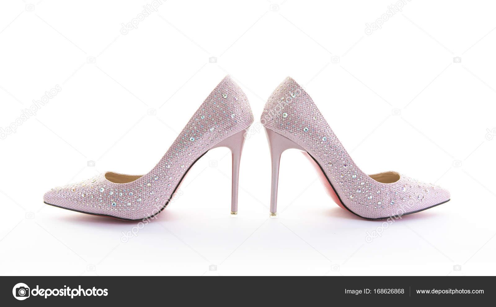 Talons Rose Blanc Brillant Paire Chaussures De À Hauts Sur Fond jLq3ASc4R5