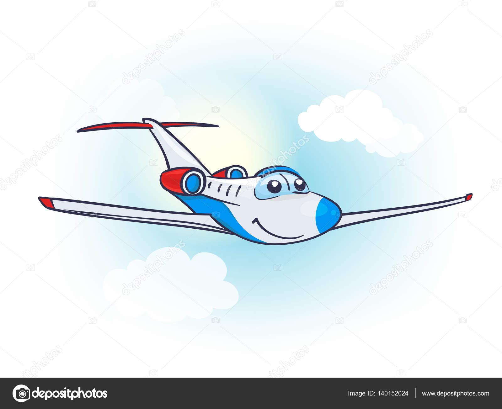cartoon little cute air plane with smiling face and eyes in the