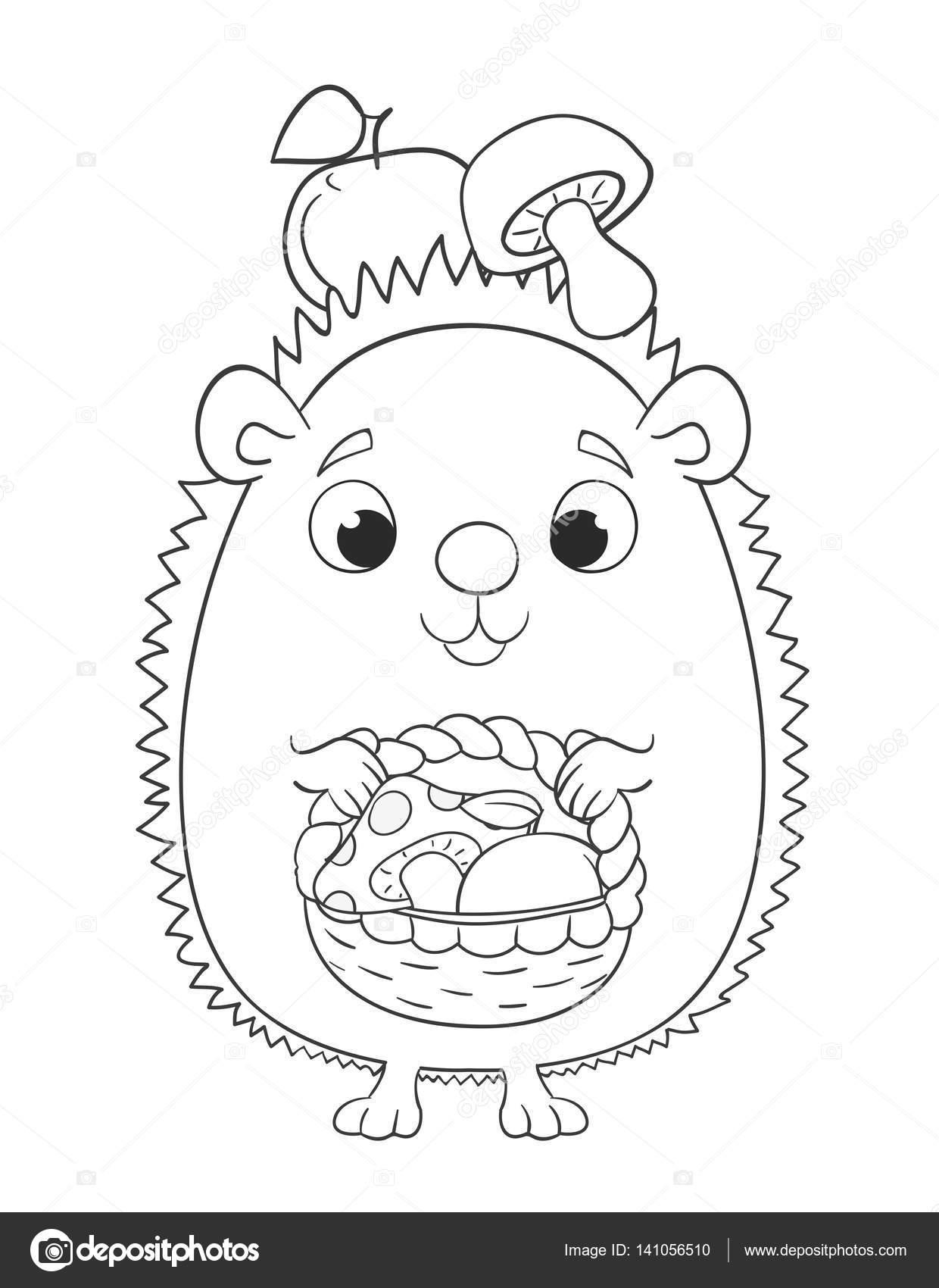 Erizo de dibujos animados lindo con cesta, manzana y setas. Colorin ...
