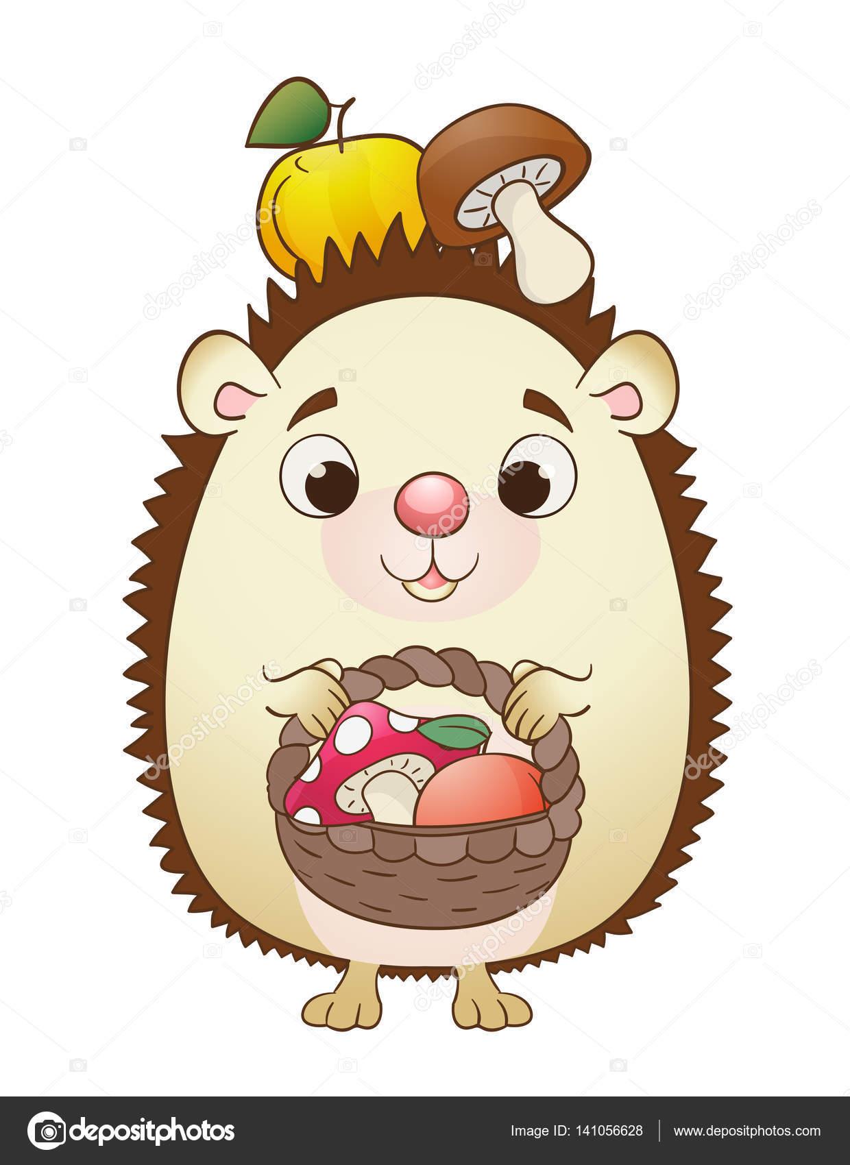 Милый мультфильм Ежик с корзиной, яблоками и грибами ...