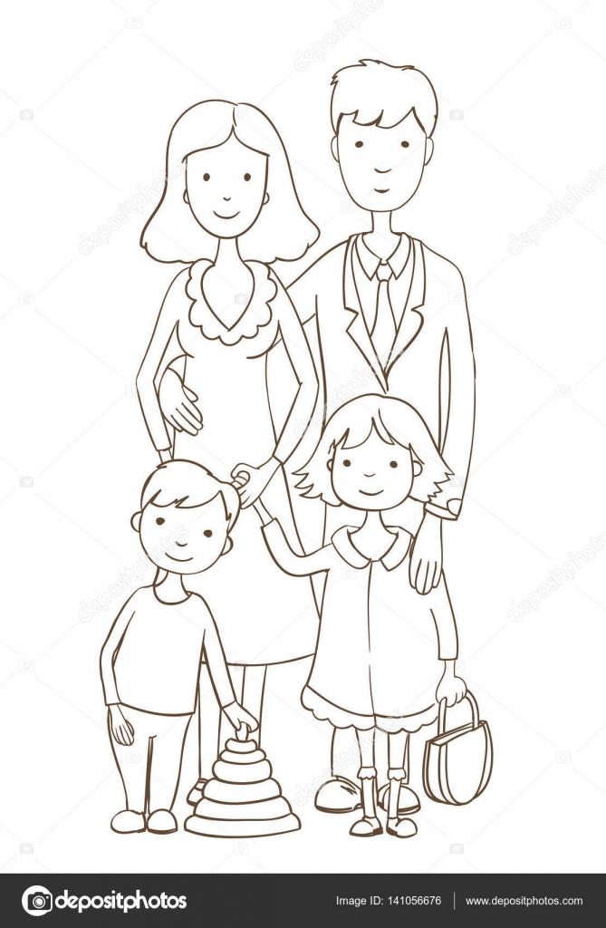 Sevimli çizgi Mutlu Aile Beyaz Boyama Sayfası Sürümü Vektör