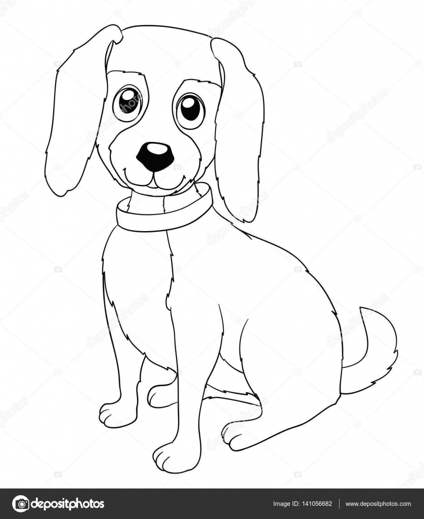 Perrito lindo de la historieta con cuello en blanco. Colorear página ...