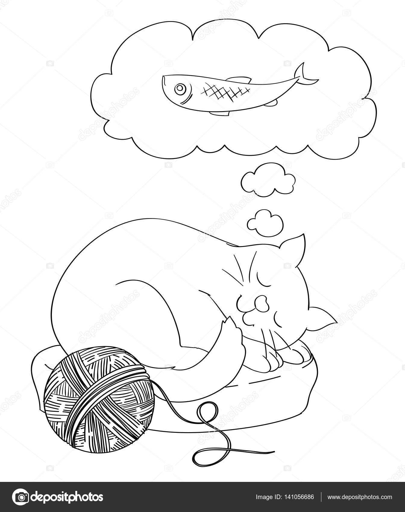 Dibujos animados lindo gato soñando con un pescado como alimento ...