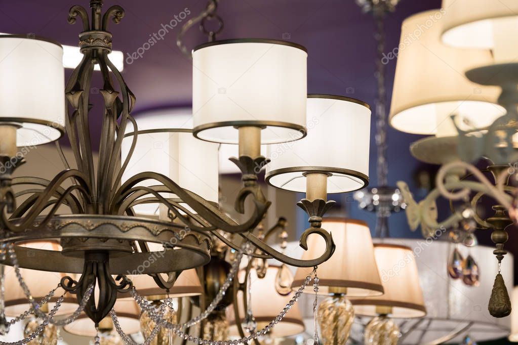 Different chandeliers in a lighting shop stock photo toxawww different chandeliers in a lighting shop stock photo aloadofball Choice Image