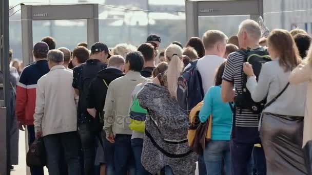 People in the line to security check
