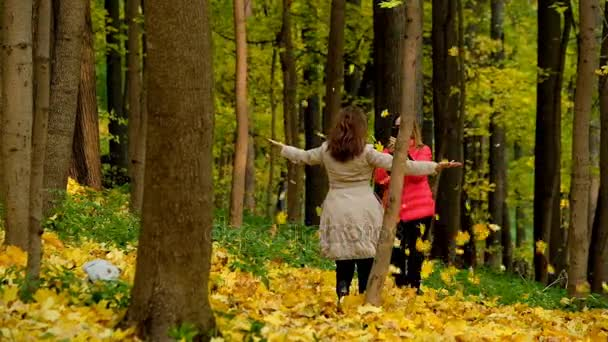 Two girls in an autumn park throw leaves and having fun