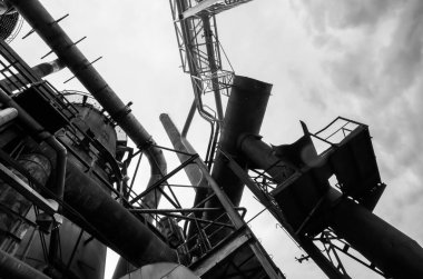 Black and white abstract industrial backround
