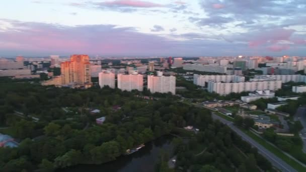 Violet-pink sunset over the city