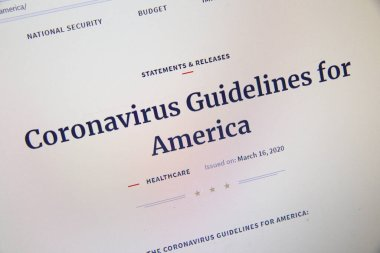 NAMPA, IDAHO - APRIL 14, 2020: Presidential guidelines for covid19 per whitehouse.gov
