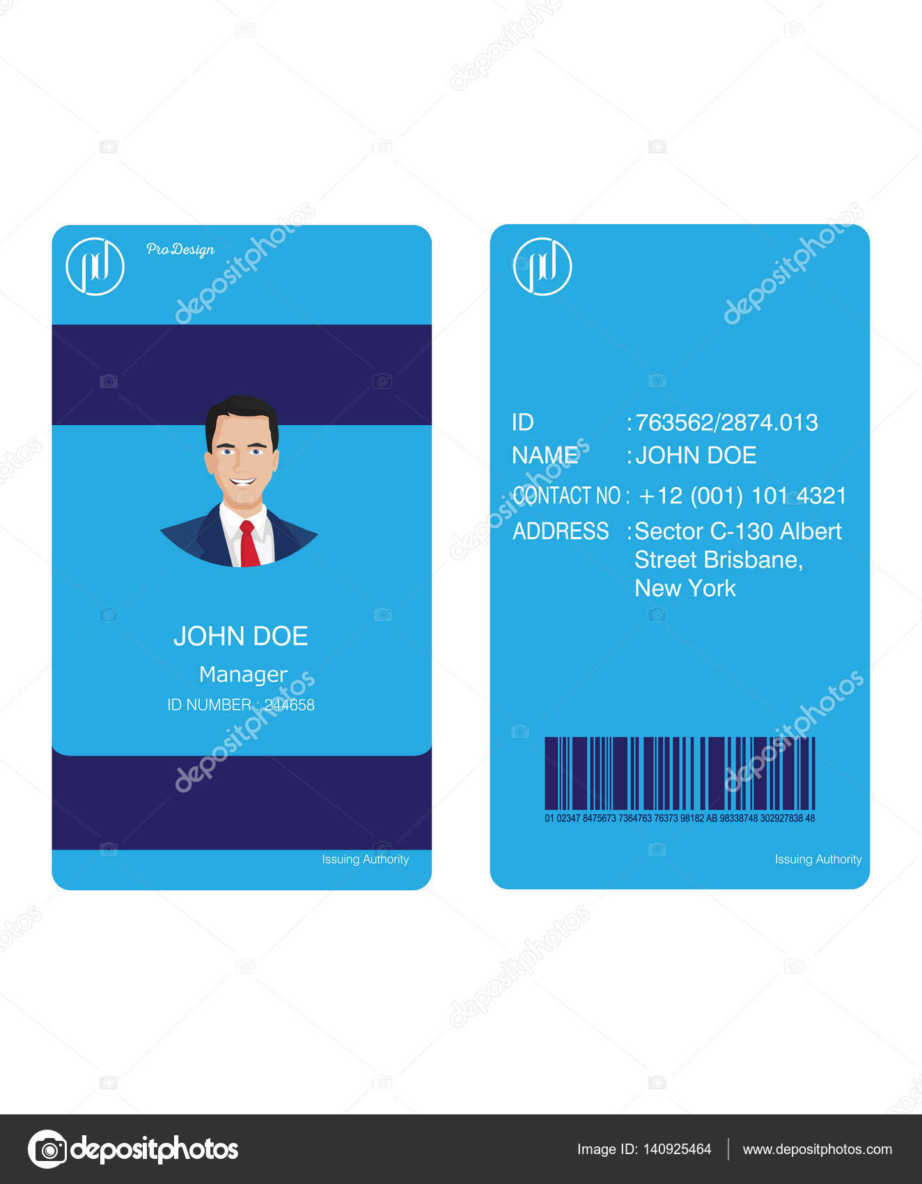 id card business blue — Stock Vector © prodesign481.gmail.com #140925464