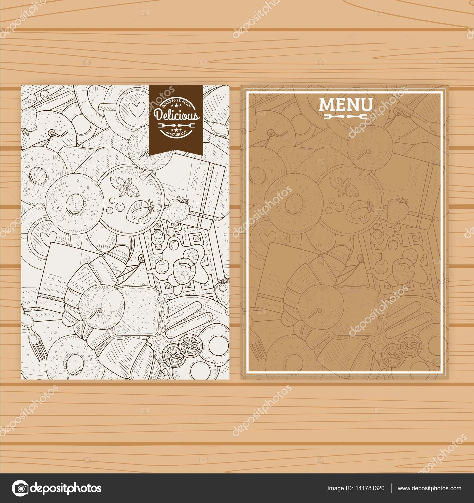 Menu board template with food handrawn pattern for coffee shop or ...