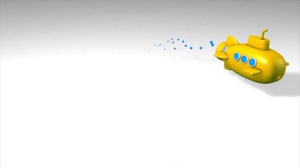 Animazione divertente, sottomarino giocattolo, bolla, giallo.
