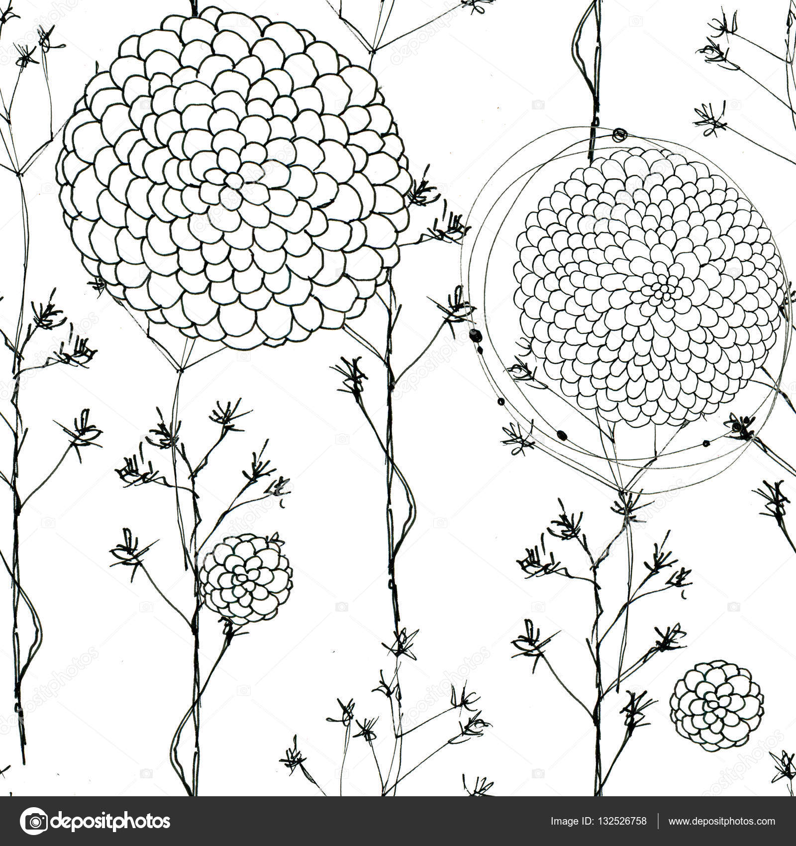 Seamless Floral With Abstract Black And White Flowers Stock Photo