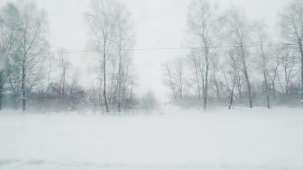 Pohled z okna vlaku do zimní krajiny