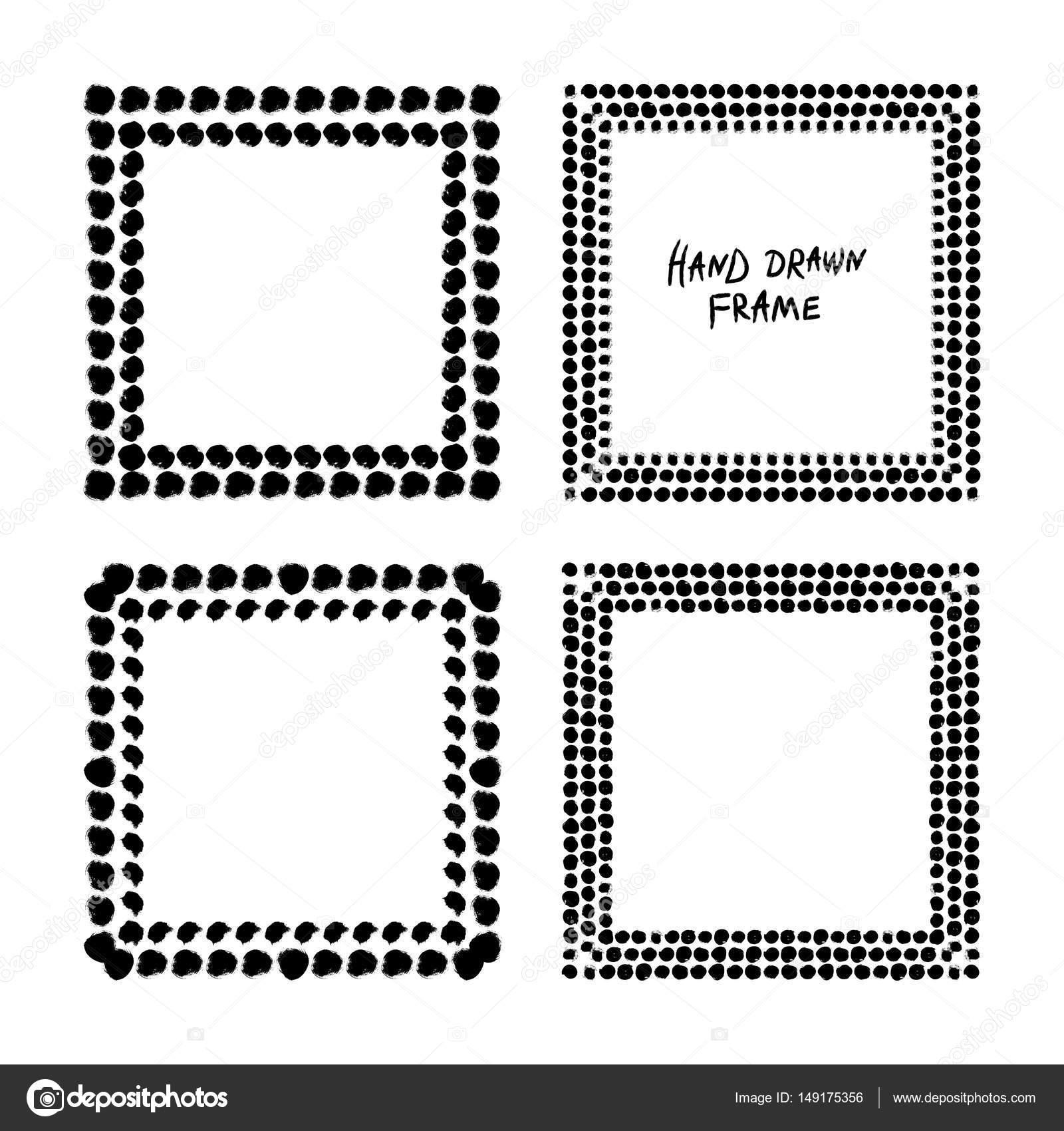 Conjunto de marco abstracto blanco y negro — Vector de stock ...