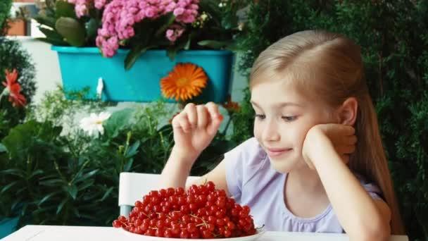 Lány egy szál piros ribizli mutatja. A lány, egy nagy tányér piros ribizli. Gyermek ül az asztalon, a kertben pihen. Kicsinyítés/nagyítás. Hüvelykujj-fel. oké