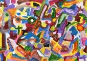 Abstraktní barevné ručně malované pozadí