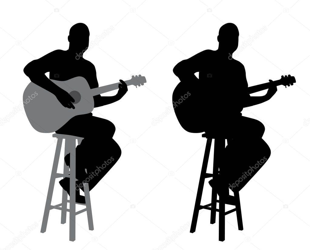 Giocatore di chitarra che si siede su un bar sgabello u2014 vettoriali