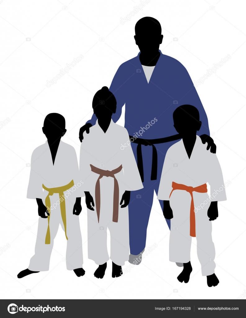 Illustrazione judo per bambini squadra di judo allenatore di