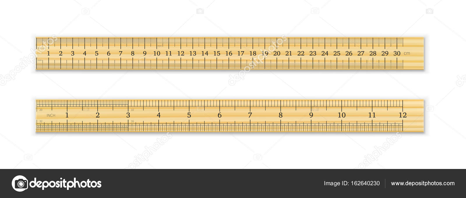 Picture A Ruler 12 Inches Realistic Metal Ruler Of 30 Centimeters And A Metal Ruler Of 12 Inches Stock Vector C Ivn3da 162640230