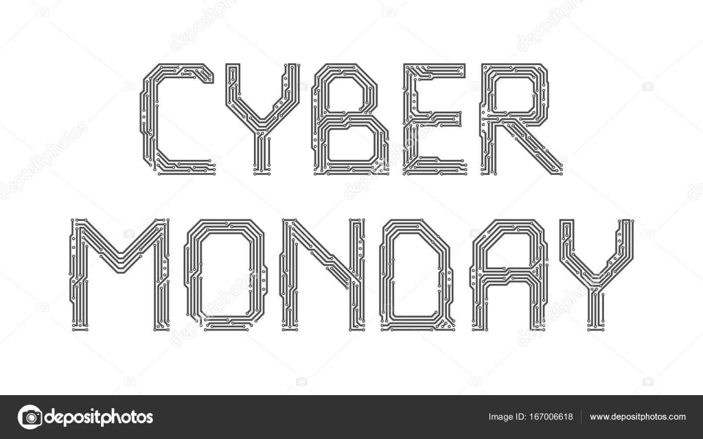 Cyber Monday from the letters of the printed circuit board — Stock ...