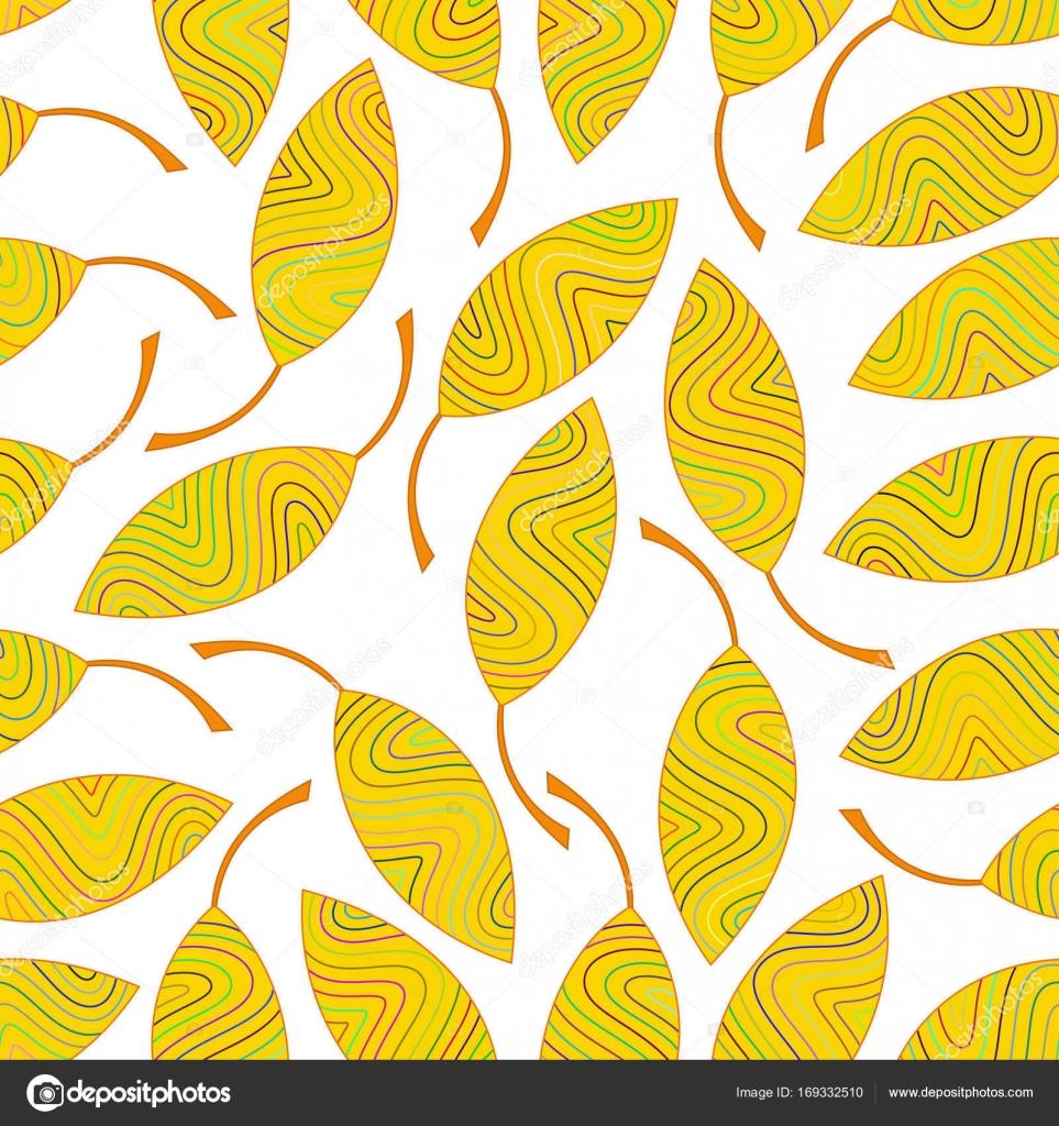 Patrón sin fisuras de hojas de rayas amarillas — Archivo Imágenes ...