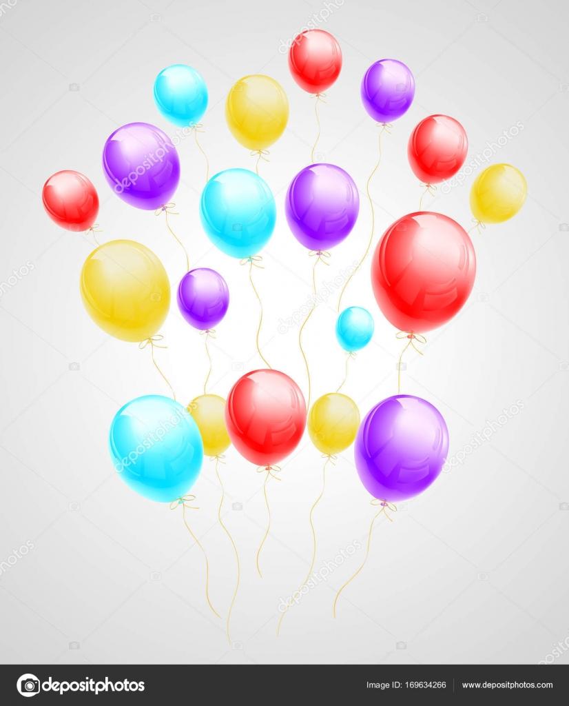 Bündel Von Bunten Luftballons Fliegen Stockvektor Ivn3da 169634266