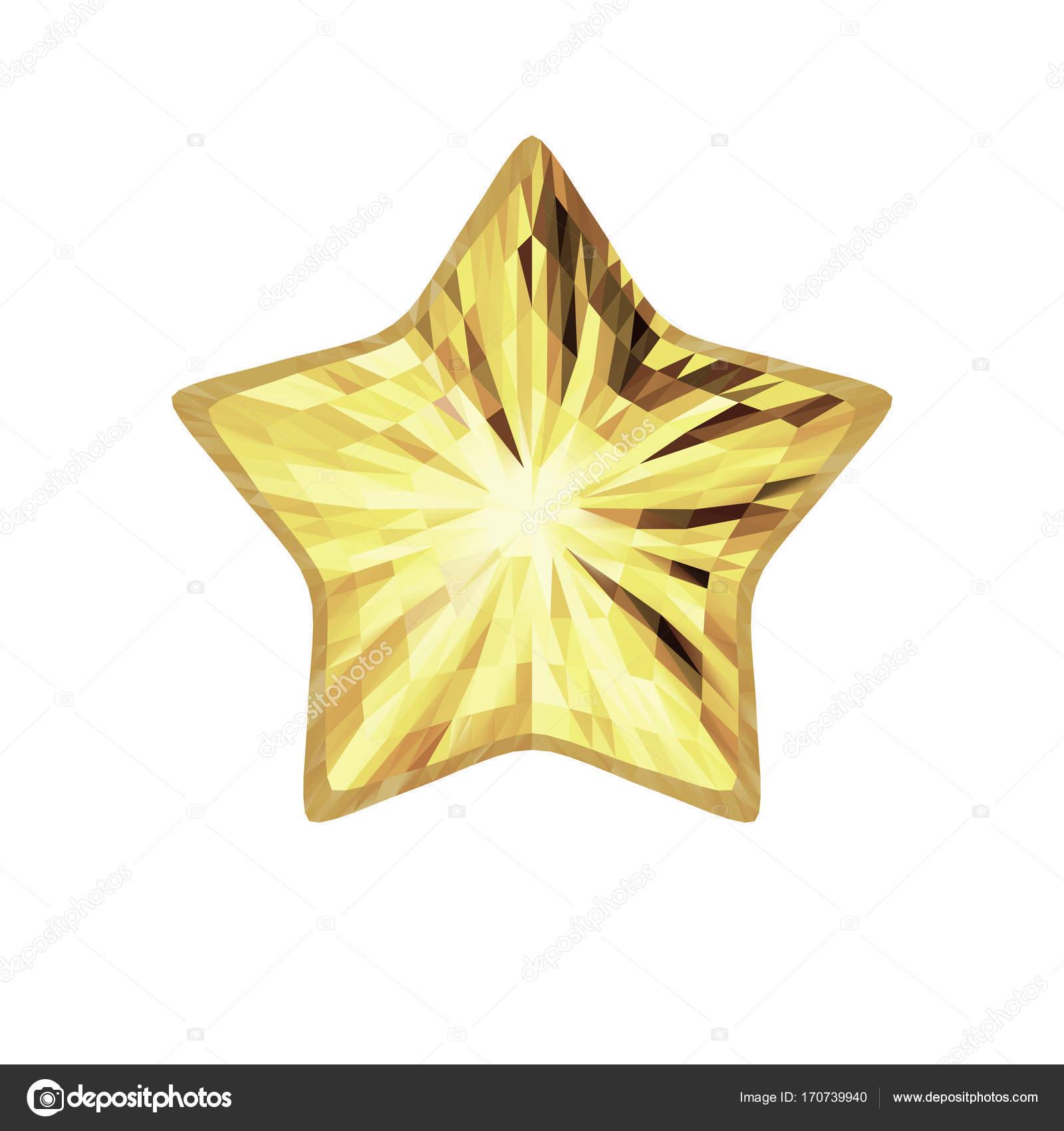 Vektor-Gold fünfzackigen Stern isoliert auf weißem Hintergrund ...