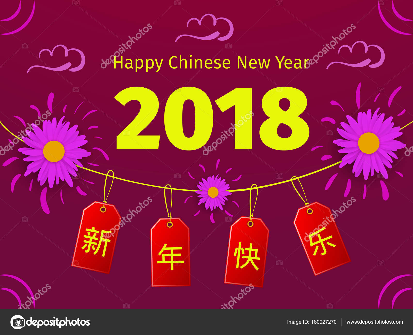 Chinese New Year Greeting Card With Tags And Flowers Stock Vector