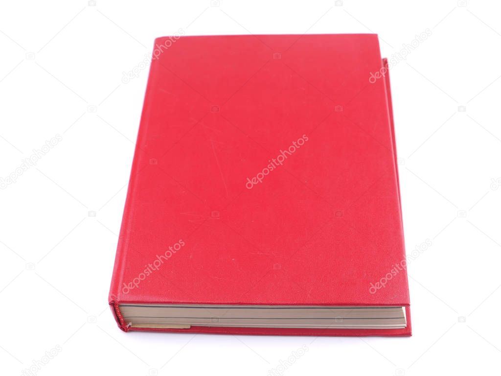 red book on a white background