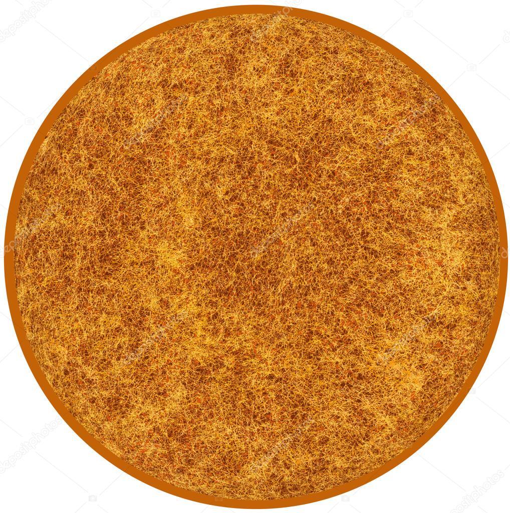 Flauschiger Runder Teppich In Braun, Gelb Farben Isoliert Auf Weiß B U2014  Stockfoto