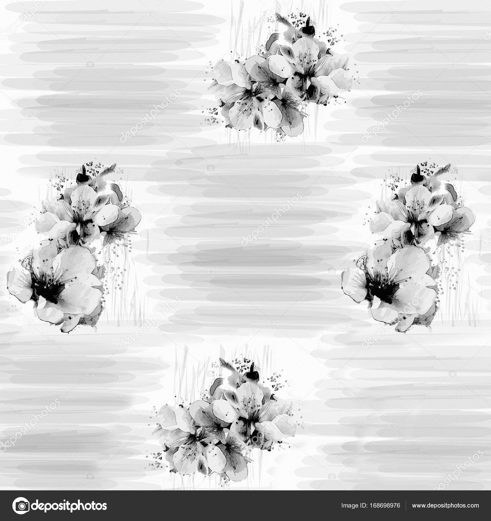 Black And White Floral Background With Stylized Flowers Of Cherry