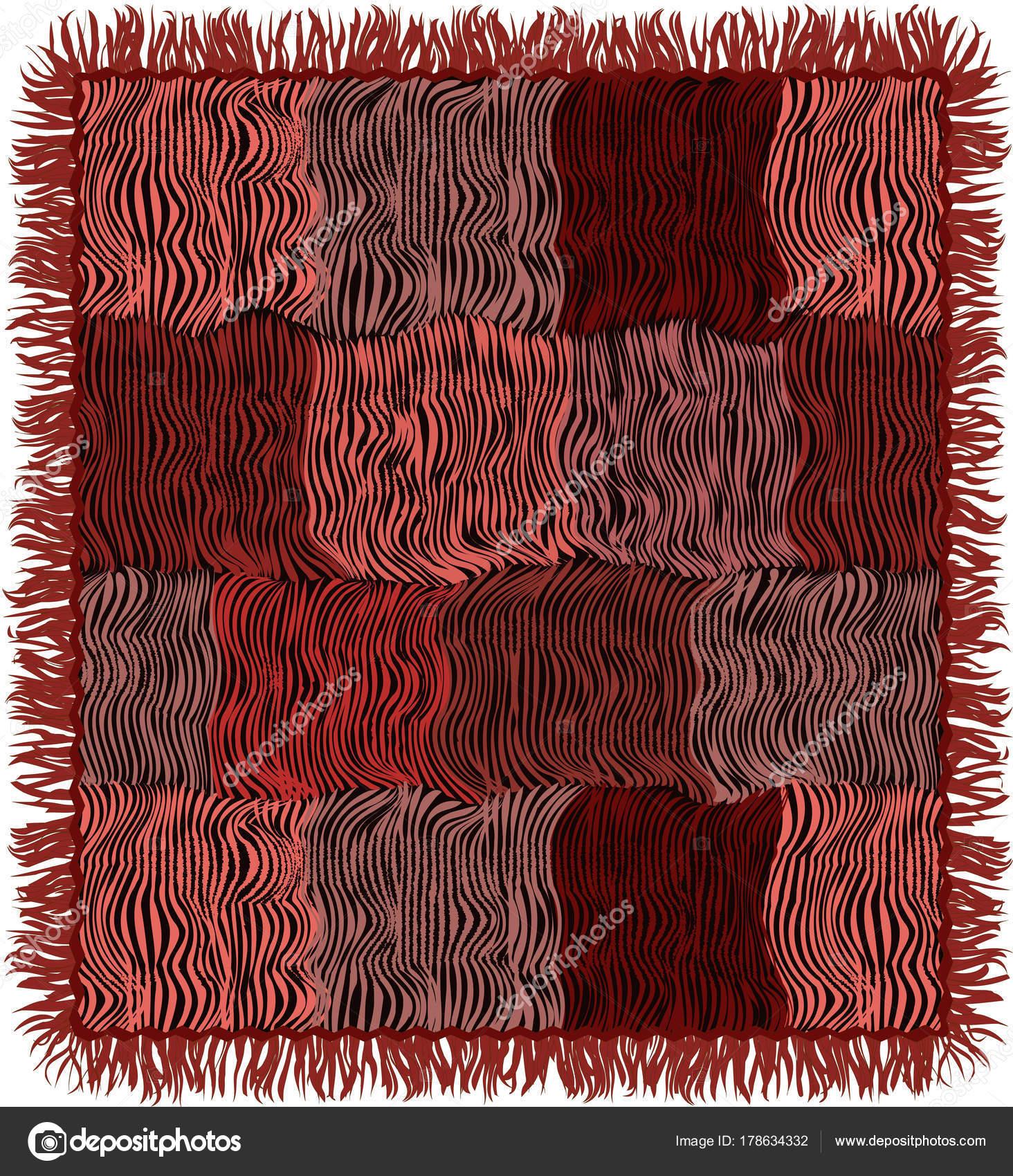 Grunge Gesteppte Teppich Mit Fransen In Braun Rosa Violett