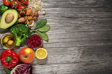 Healthy food with vegetable and fruits