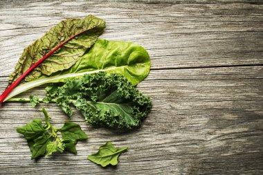 Vegetable lettuce on wooden table