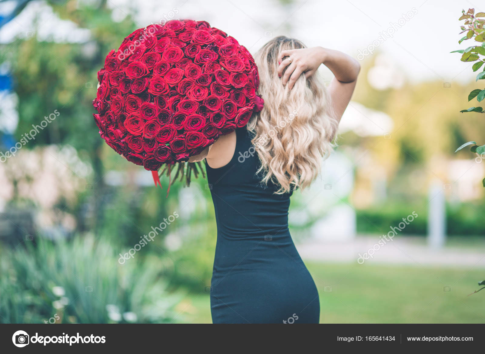 88fd9245b18 Back view of elegant beautiful woman is wearing black fashion dress on  green lawn with big bouquet of 101 red roses– stock image
