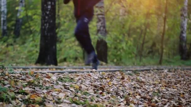 Uomo che funziona nella formazione di boschi di foresta. Concetto di stile di vita sano di forma fisica con corridore pista atleta maschio nella sosta di autunno. 1920 x 1080