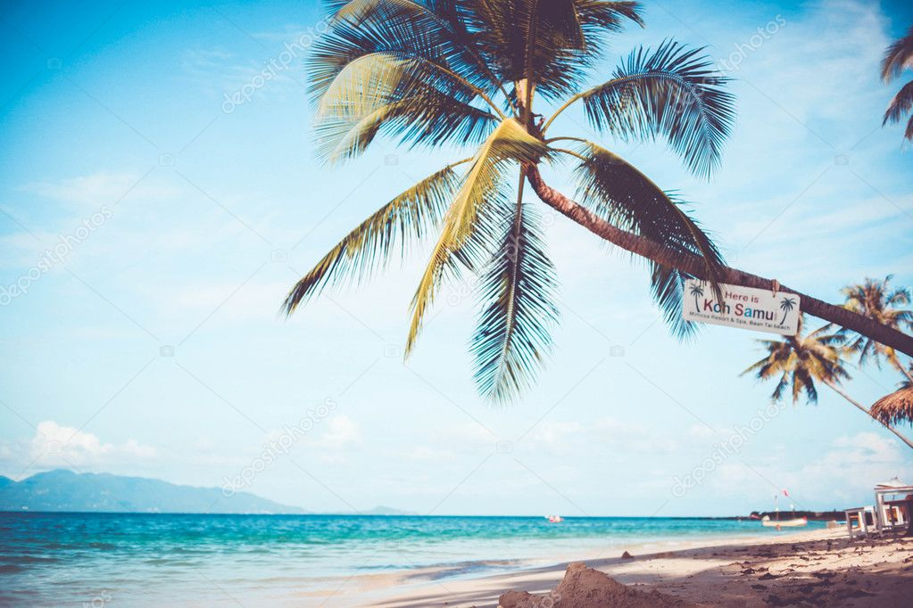 tropical beach scenery of Koh Samui. Vintage card in retro colors