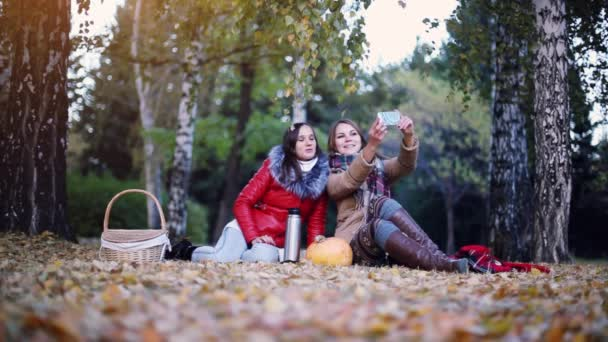 Beautiful women making selfie on a picnic in autumn park sitting on the fallen leaves near the pumpkin at halloween time. 1920x1080