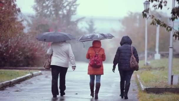 Menschen mit Regenschirmen laufen an einem verschneiten und regnerischen Herbsttag auf der Straße. 1920x1080. depressives Wetter