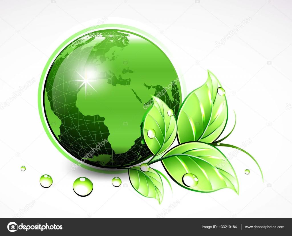 9fca5b17d8894 Mundo verde natural con hojas y el agua cae. Ilustración de vector —  Archivo Imágenes