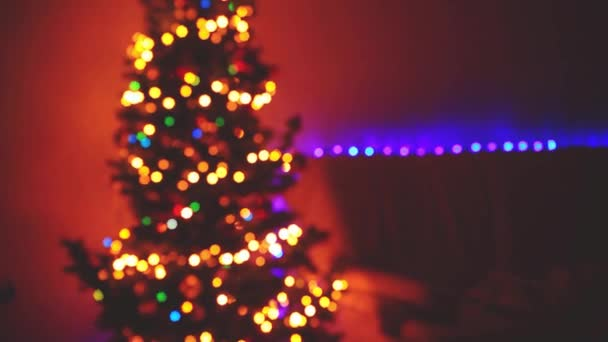 blinking christmas tree blurred lights bokeh winter holidays
