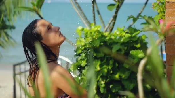 Beautiful Young Woman In Outdoor Shower Sensual And Seductive Has A Washing In Slow Motion On Summer Holidays 1920x1080 Hd Stock Footage