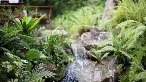 Paradise džungle lesa s krásným vodopádem parku Erawan Koh Samui. Thajsko. Smaragdové jezírko a exotické rostliny. 1920 × 1080